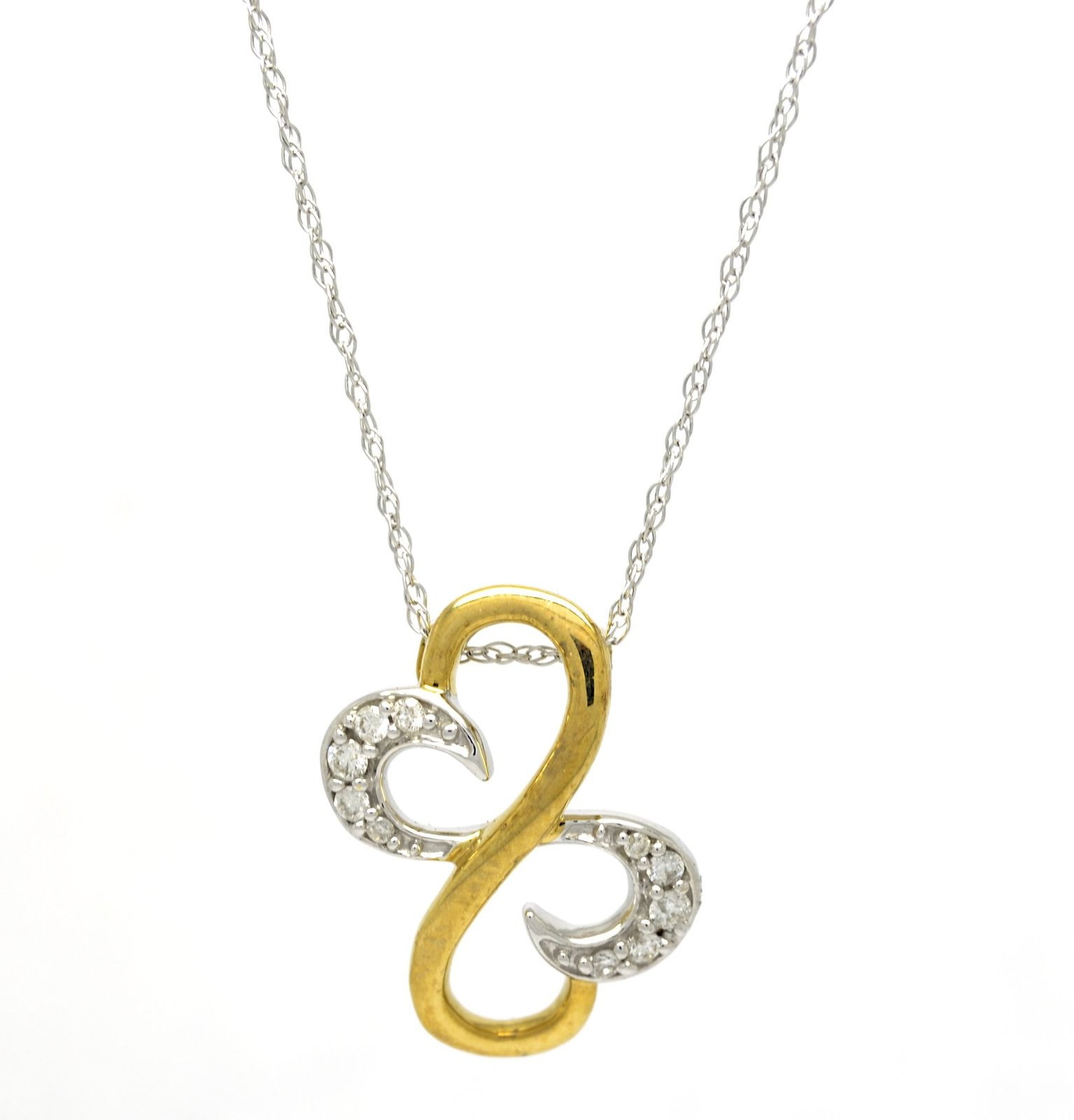 10K White and Yellow Gold 0 .10 Ct Diamond Double Heart Infinity Pendant