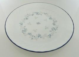 Blue Fleur Corning Corelle Dinner Plate Swirl Edge Blue Trim Floral Center - $19.68