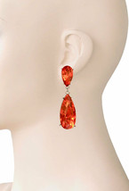 """2"""" Long Orange Pumpkin Glass Clip On Earrings Casual Chic, Party, Urban Chic - $12.83"""