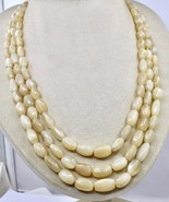 3 LINE 602 CTS MOONSTONE LONG CABOCHON BEADS STRING NECKLACE FOR LADIES - $95.00