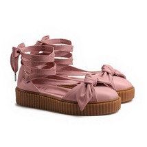 Puma Fenty Bow Creeper Sandal Womens 6.5 Ankle Laced Rihanna Pink Silver Leather - $89.95