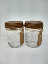 2 Vintage Ball Mason Jar Pint Wide Mouth Antiqued Lids Great Gift With Tags - $19.47