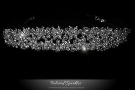 Krisma Floral Cluster Silver Tiara | Swarovski Crystal - $85.95