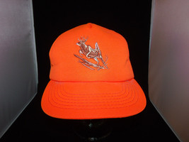 Vintage Winchester Snap Back Truckers Hat Orange with Ear Flaps Leaping ... - $29.99