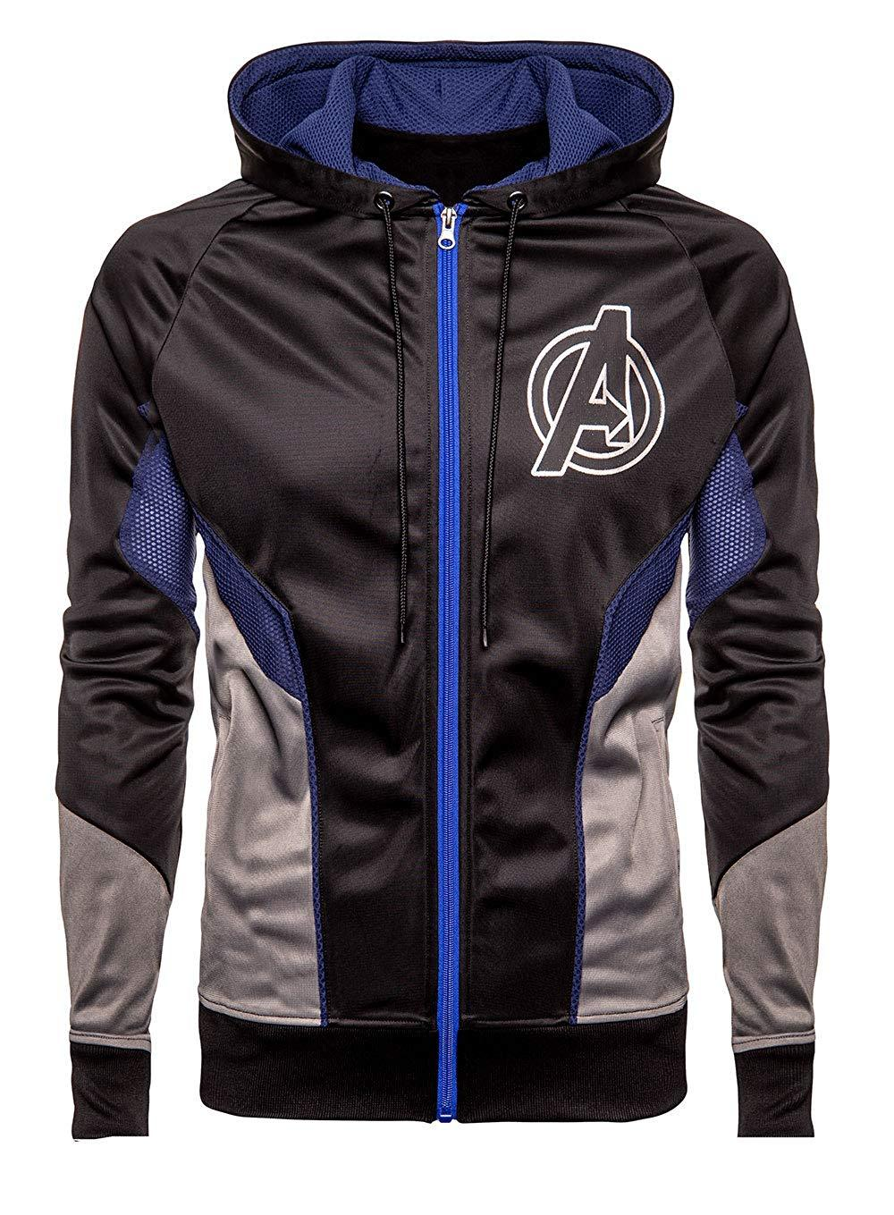 Avengers Endgame Logo Costume Black Hoodie Bomber Satin Jacket For Men