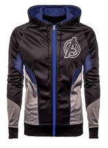 Avengers Endgame Logo Costume Black Hoodie Bomber Satin Jacket For Men image 1