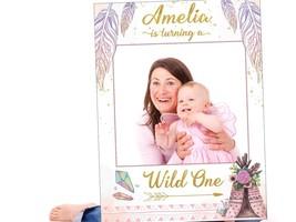 Cute Little Teepee Birthday Selfie Frame Custom Party Decor Photo Booth Prop USA - $15.83+