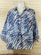 Women' JM Collection Sz 22W Blue Animal Print Button Up 3/4 Sleeve Sheer... - $7.70