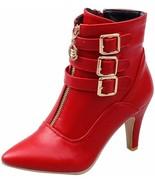 OCHENTA Women's Pointed Toe Side Zipper Buckle Strap High Heel Ankle Boots - $84.43