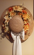 VintageStraw Hat Wall DecorFlowersWhite Bowhand crafted - $9.59