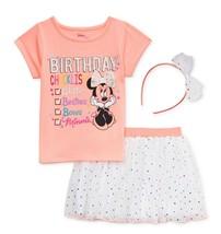 Minnie Mouse Disney 3-Pc. Camisa, Falda & Tiara Conjunto Cumpleaños Ropa Set - $21.27