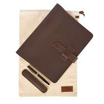 Leather Journal Cover Portfolio for XXL Moleskin Cahier - Refillable Lea... - $31.02