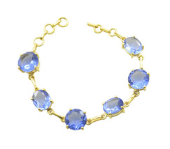 grand Blue Shappire CZ Gold Plated Blue Bracelet Natural easily US gift - $28.21