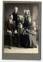 """6"""" Antique Cabinet Photo Large Family Mother Father 5 Childern Baby Boy ... - $18.99"""
