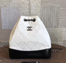 Authentic Chanel White Black Gabrielle Quilted Leather Bucket Backpack Bag