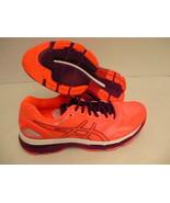 Asics womens gel nimbus 19 running shoes flash coral dark purple white s... - $148.45