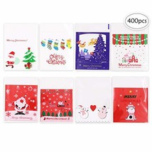400 Pcs Christmas Plastic Cellophane 8 Different Style Cookie Treat Bags... - $19.16