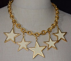Premier Designs Spangle Ivory Cream Enamel Star Heavy Choker Necklace NOS - $54.45