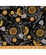 Cotton Bees Honeybees Flowers Sunflowers Floral Fabric Print by the Yard... - $12.95