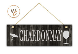 "CHARDONNAY Wine Sign, Dark Rustic Wood Style, 5.5"" x 17"" Sign, Wine Bar - $20.25"