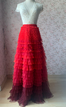 Red Tiered Maxi Skirt Outfit High Waisted Plus Size Tiered Long Tulle Skirts  image 1