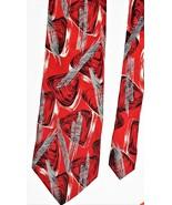 Giorgio Benelli Boutique Abstract Red White Black Silver 100% Silk Neck ... - $16.21