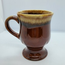 Hermitage Vintage Brown Drip USA Large Footed Mug Pottery - $21.09