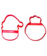 Santa And Mrs Claus Round Faces Outlines Set Of 2 Cookie Cutters USA PR1542 - $2.99