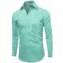 Omega Italy Men's Premium Slim Fit Button Up Long Sleeve Solid Color Dress Shirt image 8