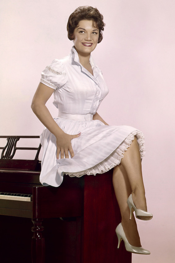 Primary image for Connie Francis pin-up crossed legs cute dress sitting on piano 18x24 Poster