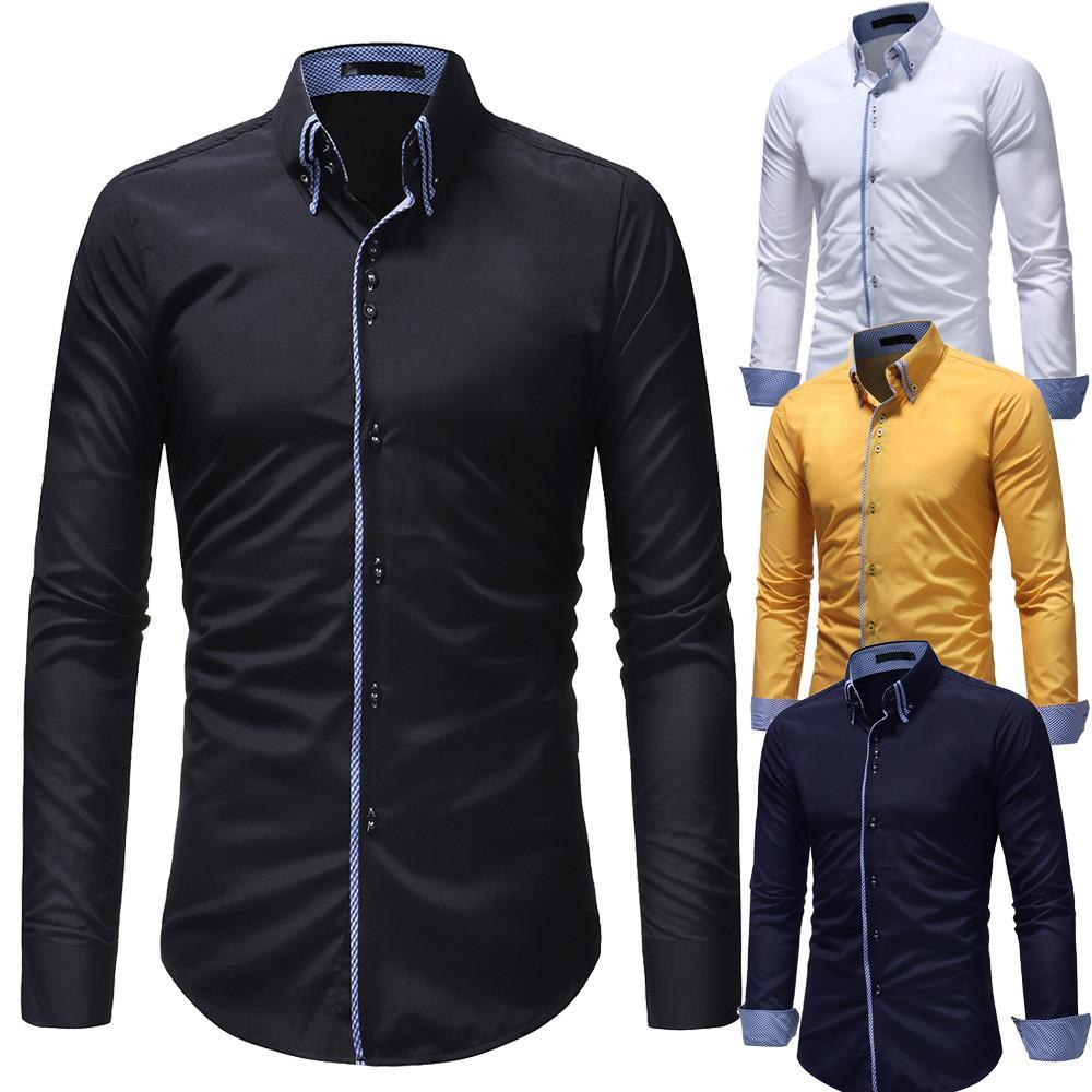 Primary image for Men Long Sleeve Shirt 2018 Fashion Casual Shirt Double Collar