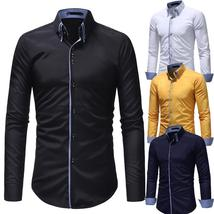 Men Long Sleeve Shirt 2018 Fashion Casual Shirt Double Collar - $30.48