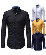 Men Long Sleeve Shirt 2018 Fashion Casual Shirt Double Collar - $30.48