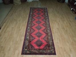 Pink Hamadan Persian Wool Handmade Rug 3x9 All-Over Geometric Rug image 5