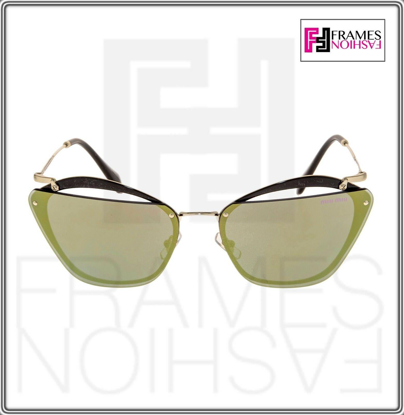 MIU MIU NOIR Cut Out 54T Black Gold Emerald Mirrored Oversized Sunglasses MU54TS