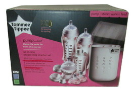 Tommee Tippee Pump & Go Breast Milk Starter Kit Partial Set 25 Pieces - $18.80