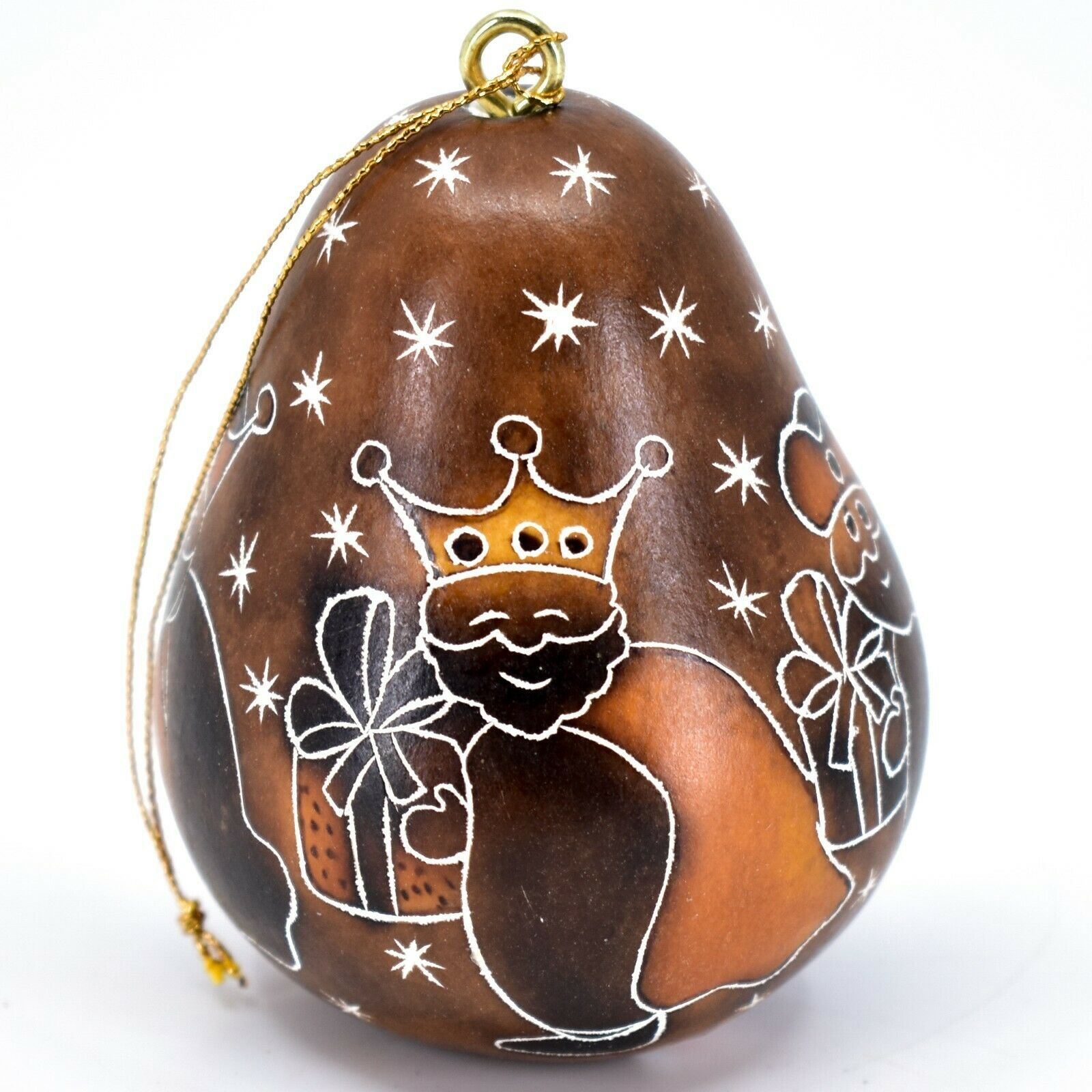 Handcrafted Carved Gourd 3 Kings Nativity Gifts Christmas Ornament Made in Peru