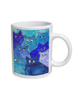 KuzmarK Coffee Cup Mug 11 Ounce -  Whacky Blue Kitties Abstract Cat Art ... - $18.00