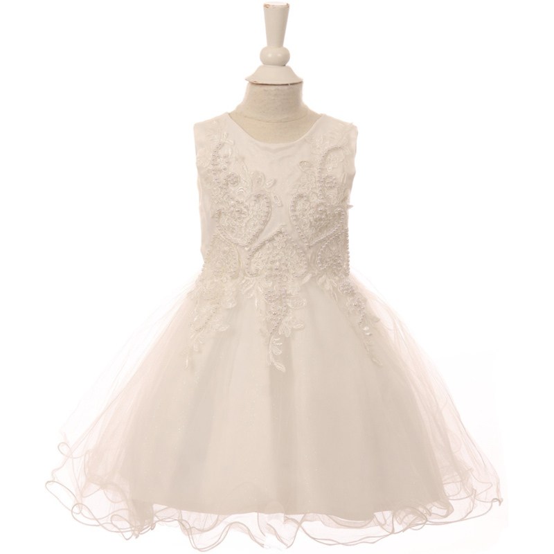 Primary image for White Pearl Sequin Embroidery Lace Satin Wired Glitter Tulle Baby Girl Dress