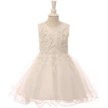 White Pearl Sequin Embroidery Lace Satin Wired Glitter Tulle Baby Girl Dress - $40.00