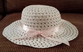 Girl's White Mesh Crocheted Sun Hat With Light Pink Ribbon - $3.99