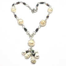 Necklace the Aluminium Long 48 Inch with Shells Hematite & White Pearls image 1