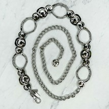 "Chico's Silver Tone Hammered Metal Belly Body Chain Belt One Size 23""-50"" - $23.25"