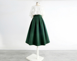 Winter Wool Skirt Dark Green Warm Midi Party Skirt A-line with Pockets Plus  image 4