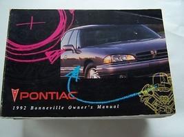 1992 PONTIAC  BONNEVILLE OWNERS MANUAL PARTS SERVICE - $9.99
