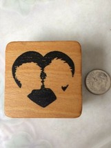 Heart w/ Silhouette of people kissing Rubber Stamp Comotion 9998 Special Stamps - $10.39