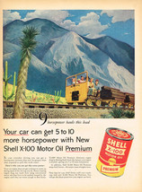 Vintage 1955 Magazine Ad Shell Oil Get 5 To 10 More Horsepower With Shell X-100 - $5.93