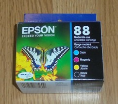 4 Pack Genuine Epson 88 Ink Cartridges Dated 2022 Black Cyan Magenta Yellow - $30.13