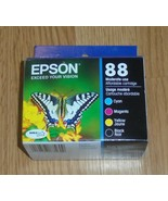 4 Pack Genuine Epson 88 Ink Cartridges Dated 2022 Black Cyan Magenta Yellow - $30.13