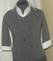 *NOTATIONS SWEATER TOP SHIRT SIZE PS GRAY WHITE NECKLACE NWT - $16.99